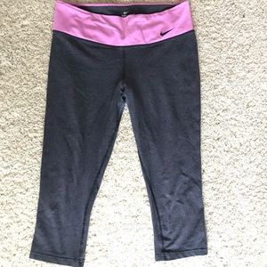 Grey nike workout leggings with pink waistband